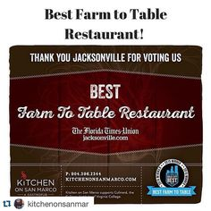 Congrats to #kitchenonsanmaro for winning the #floridatimesunion #jacksonville.com Best Farm to Table Restaurant. We're so pleased we can make a small contribution to your incredible dishes. #therealdeal #greatchefsofjacksonville #theyknowtheirfarmers #doyou  #Repost @kitchenonsanmar with @repostapp.  Thank you #Jacksonville for honoring @KitchenonSanMar with your vote for #Best #FarmtoTable restaurant in #Jax in the @fFloridatimesunion readers poll! We won! A special shout out to the…