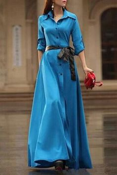 Cheap dress vestidos, Buy Quality maxi dress directly from China beach dress Suppliers: New European and American Style Slim Bohemian Beach Dress Long Sleeve V-neck elegant Dress Vestidos Maxi Dress Vestidos Modest Wear, Modest Dresses, Modest Outfits, Modest Fashion, Sexy Dresses, Fashion Dresses, Casual Dresses, Modest Clothing, Button Up Maxi Dress