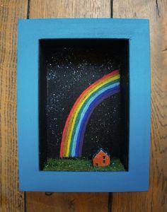 Diorama frame - ceramic house over the rainbow $44.52 USD     Dimensions: 16X12X5 cm