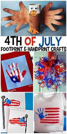 The Cutest 4th of July Handprint/Footprint Crafts for Kids to make! | CraftyMorning.com