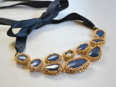 Lapis crochet statement necklace royal blue by BohemianPleasures, $50.00