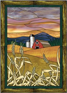 "Check out our full-size ""American Countryside"" stained glass pattern. We have over 1600 stained glass designs available in CD collections and as individual patterns. Stained Glass Quilt, Faux Stained Glass, Stained Glass Designs, Stained Glass Panels, Stained Glass Projects, Stained Glass Patterns Free, Mosaic Art, Mosaic Glass, L'art Du Vitrail"