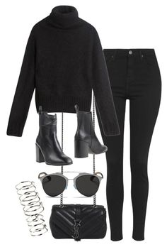 """""""Untitled #1229"""" by breannaflorence ❤ liked on Polyvore featuring Yves Saint Laurent, Topshop, Acne Studios, Eqüitare, Christian Dior and H&M"""