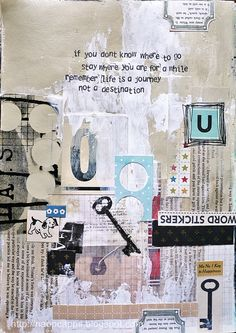Art Journaling: Life is a journey (by Naomi Capps) Kunstjournal Inspiration, Sketchbook Inspiration, Art Sketchbook, Artist Journal, Art Journal Pages, Art Journals, Mixed Media Collage, Collage Art, Paper Collages