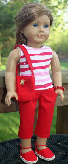 American Girl Doll Clothes-Red and White Summer Outfit including Handmade Espadrilles. $23.00, via Etsy.