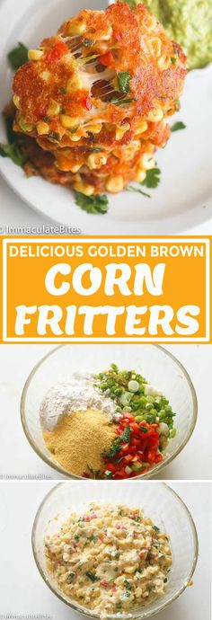Corn Fritters - Immaculate Bites These Sweet Corn Fritters Are Crisp And Golden On The Outside, And Warm And Soft On The Inside. They Taste Like Delicious Balls Of Cornbread Heaven! . Southern Breakfast, Southern Dinner, Appetizer Recipes, Snack Recipes, Cooking Recipes, Appetizers, Drink Recipes, Vegan Recipes, Healthy Southern Recipes