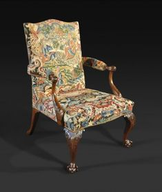 A George II Mahogany and Needlework Upholstered Library Armchair - Hyde Park Antiques, Ltd.