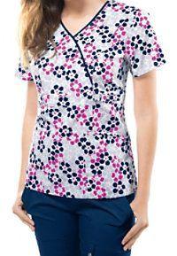 362996eea44 Cherokee Runway Retro Pop Floral Crossover Print Scrub Tops Suit Pattern,  Retro Pop, Scrub