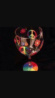 Peace Sign Wine Glass