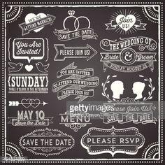 ベクトルアート : Chalkboard Wedding Invitation Elements