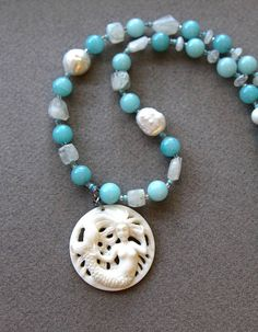 Carved Mermaid Necklace Bone Pendant from Bali w Amazonite