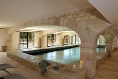 Chateau de la Redorte (Indoor Swimming Pool) - Redorte Saint Benoit, Indoor Outdoor, Outdoor Decor, Deco Design, France, Home Fashion, House Ideas, Mansions, Luxury