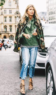 Camouflage jacket, fashion week street style.