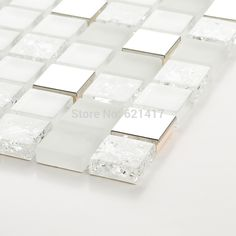 square white and clear ice crackle glass mixed stainless steel metal mosaic tiles kitchen backsplash mosaic bathroom shower