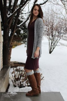 How to style a Maroon Dress with boots