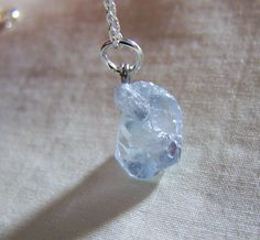 Pale Blue Celestite Raw Crystal Pendant Sterling Chain | mymysticgems - Jewelry on ArtFire