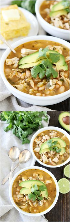Easy White Chicken Chili Recipe on twopeasandtheirpo... You can have this comforting and delicious chili on the dinner table in 30 minutes!