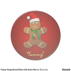 Funny Gingerbread Man with Santa Hat Drink Coaster
