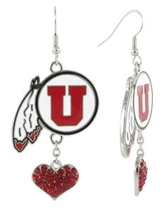 Red and Black Utah Utes Love Fish Hook Earrings with Red Hearts