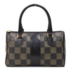 Fendi+Handbags | Fendi Vintage Black & Beige Checkered Coated Canvas Satchel Handbag