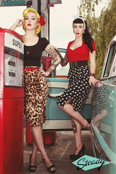 pencil skirts, suspenders, high ponytails, plaid, polka dots, halter tops, corset, skinny jeans, heels, leopard print, leather jacket, denim jacket, stripes, red white and black, panty hose with seams,