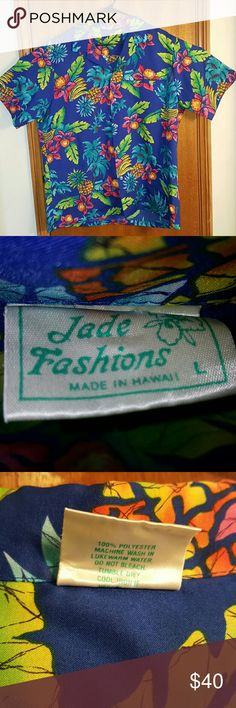 Jade Fashions Men's shirt. Aloha. Hawaiian size L Jade Fashions Men's shirt. Button down. Hawaiian shirt. 100% polyester. Feels silky. Size large. Has pineapples, flowers, trees and bananas. Very tropical and colorful. Made in Hawaii. Jade Fashions Shirts Casual Button Down Shirts