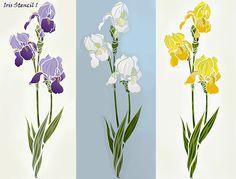 Iris and Buddleia Flower Stencils