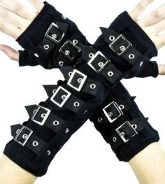 Black Buckle Gloves Deathrock Gothic Arm Warmers Cosplay Steampunk Cyber Vampire - cotton-blend - Gloves made of black cotton. - One size fits all. - Sleeves are decorated with six adjustable straps w