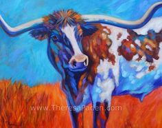 Autumn Afternoon Longhorn Painting by Theresa Paden, painting by artist Theresa Paden