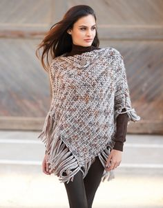 Book Woman Sport 75 Autumn / Winter | 31: Woman Poncho | Stone grey-Brown-Grey