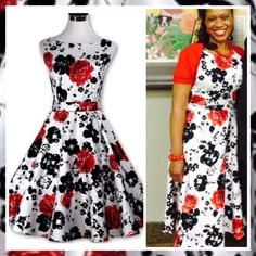 """This is a beautiful brand new vintage inspired look swing dress. Made of a cotton blend, is a one piece dress, has a back zipper, has a tie in back, a floral design and a rounded neck line.    International shipping is available for this item. 🌎    Available in US sizes 6 - 16.    Has the following measurements:    Small: US 6 - 8,Bust Range 31.5"""" - 33.5"""", Waist 25.5"""" - 27.5"""", Dress Length 39.4""""    Medium: US 10,Bust Range 33.5"""" - 35.0"""", Waist 27.5"""" - 29.5"""", Dress Length 39.7""""    Large…"""