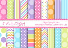 20 Digital Papers Five Tone Polka Dots Stripes by KlouiseDigiArt