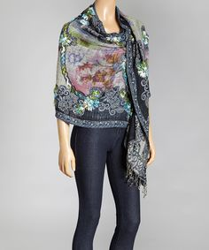 Look at this Aziza Navy & Green Floral Embroidered Wool Shawl on #zulily today!