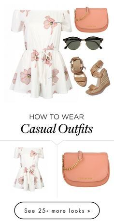 """""""floral casual"""" by qadzstephens on Polyvore featuring Stuart Weitzman, Ray-Ban and Michael Kors"""