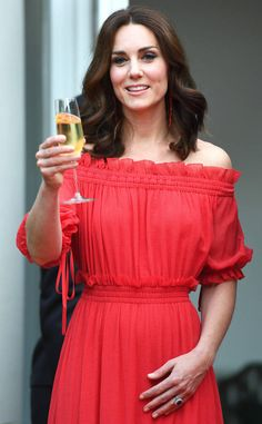 <p>Cheers! The royal raises a glass during the British Ambassador's reception in Berlin, Germany.</p>