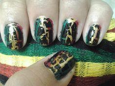 Rasta Crackel Nails