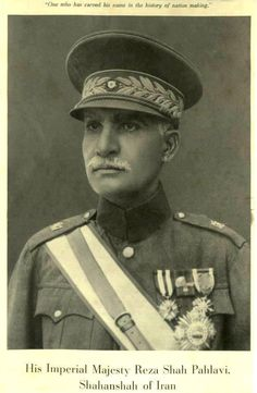 Portrait of Reza Shah, who used propaganda and censorship to spread his beliefs on secularism and anti-communism.