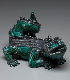 Wilhelm Kåge; Glazed Ceramic and Silver 'Argenta' Dragon for Gustavsberg, 1940s.