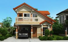 two storey house with balcony front perspective Double Story House, Two Story House Design, 2 Storey House Design, Small House Design, Modern House Design, Modern Houses, 4 Bedroom House Plans, Dream House Plans, Small House Plans