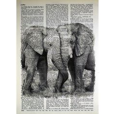 Elephant Couple Print on a Vintage Dictionary by glasslionstudio, $9.99