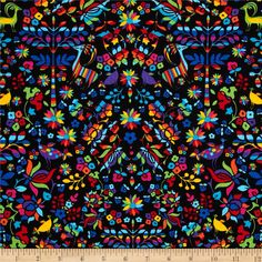 Timeless Treasures Mexican Folk Art Black from @fabricdotcom  From Timeless Treasures, this cotton print is perfect for quilting, apparel and home decor accents.  Colors include black, blue, yellow, orange, green, red, pink and purple.