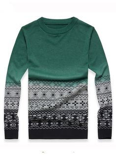 Army Green Slim Fitting Fashion Round Neck Winter New Cotton Blend Men Casual Sweater M/L/XL 911M18ag