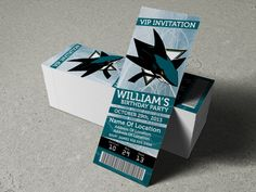 "San Jose Sharks Birthday Party/Event Ticket Invitation (2.5"" x 7"")"
