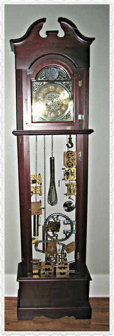 Grandfather clock cabinet repurposed into a bookcase....all in a ...