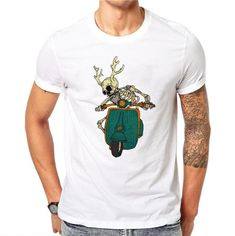 Short-Sleeve T-Shirt 100% Cotton Tee Men White T-Shirt Skull Elk Motorcycle 3D Print Rock Hip Hop
