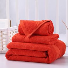Soft Plush Bamboo & Cotton Towel Set for Bathroom Spa Adult Women 3-pieces includes 1 Bath Towel 1 Hand Towel 1 Washcloth Red #Affiliate