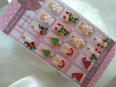 Gem Nails, Mini One, Christmas Nails, Nail Designs, Gems, Stone, Holiday Decor, How To Make, Jewel Nails