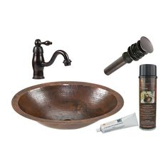 Premier Copper Products Oil-Rubbed Bronze Copper Undermount Oval Bathroom Sink with Faucet (Drain Included)