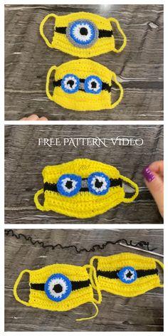 Minion and Frog Mask Crochet Patterns + Video - DIY Magazine Minion Crochet Patterns, Minion Pattern, Pokemon Crochet Pattern, Crochet Minions, Minion Mask, Minion Beanie, Crochet Mask, Crochet Faces, Free Crochet