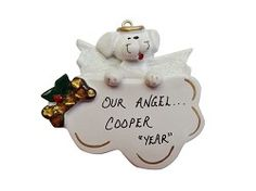 Personalized White Dog Angel Ornament